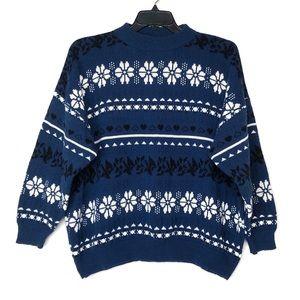 VINTAGE Oversized Snowflake Heart Pattern Sweater